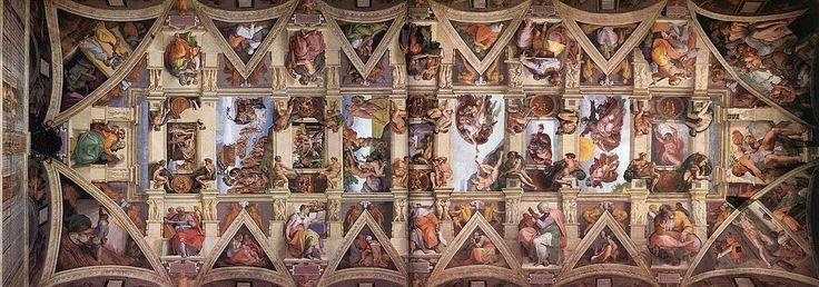 Sixtijnse kappel De sixtijnse kappel is een van de bekendste ruimtes in het paleis van de paus. Het plafond is beroemd door fresco's van michelangelo. Hij werd in 1512 werden de schilderingen voltooid