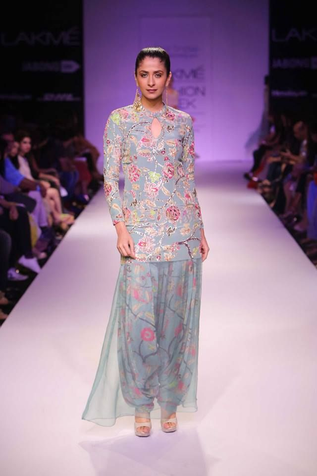 Suit with patiala salvar and sheer skirt by Payal Singhal