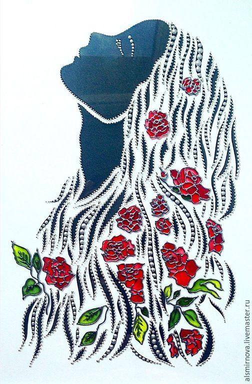 Купить картина на стекле - Девушка с цветами в волосах. - серебряный, картина для девушки, картина на стекле