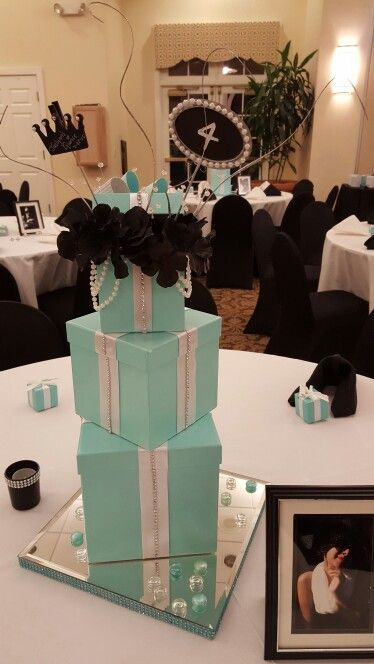 Centerpiece for breakfast at Tiffany theme party, quince, shower or wedding