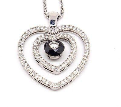 Elegant 18k White Gold 1.61tcw Diamond W/ Black Diamond Double Heart Necklace