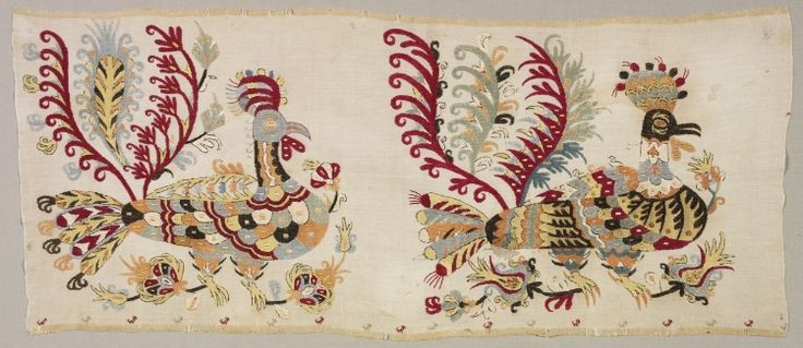 Embroidery: silk on linen tabby ground, probably from a Skirt. Greece, Sporades Islands, Skyros,  1800s