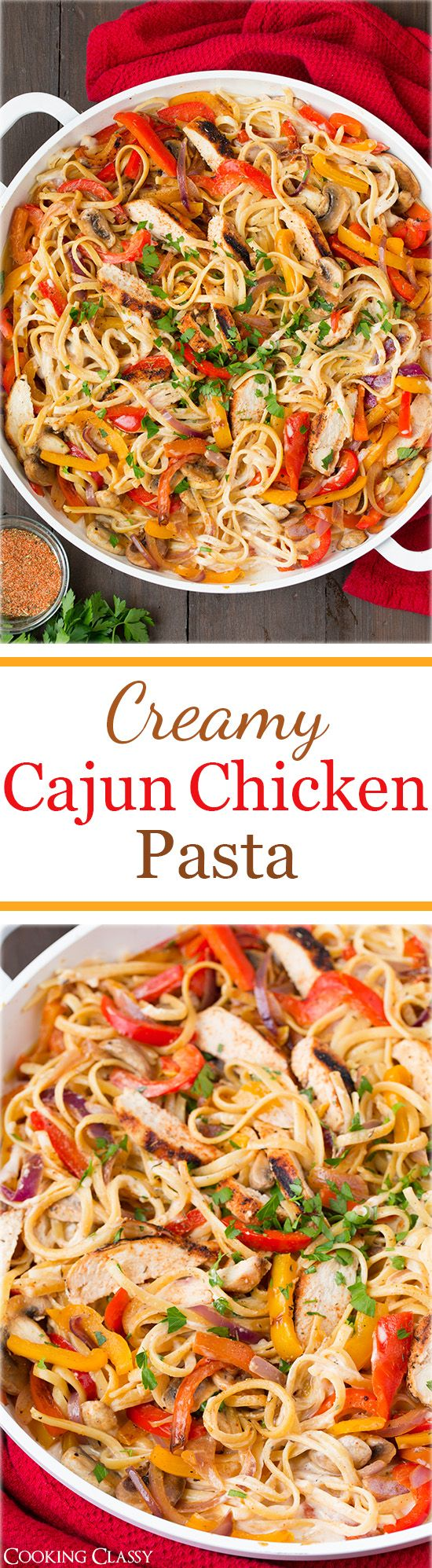 Creamy Cajun Chicken Pasta - this pasta is seriously AMAZING! Linguine covered in a lighter alfredo style sauce with cajun seasoning, and grilled chicken, sauteed peppers, mushrooms and onions. I'll make this again and again!