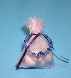 Μπομπονιέρα βάπτισης με μπλε βραχιολάκι (Μ 4027)
