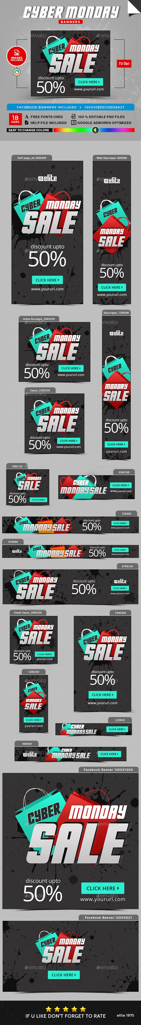 Cyber Monday Banners - Image Included - Template PSD
