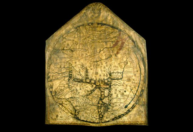 The Hereford Mappa Mundi, medieval map.