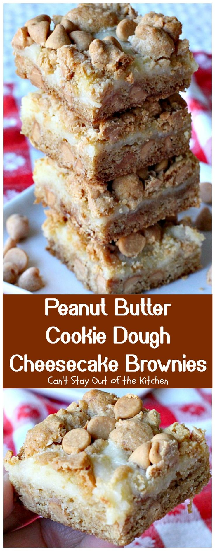 Peanut Butter Cookie Dough Cheesecake Brownies are made with peanut butter cookie dough and a luscious cheesecake layer. Great for tailgating parties!