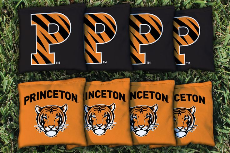 8 quality Princeton University Tigers cornhole all weather plastic pellet filled bags, made of quality duck cloth material measuring 6 inches by 6 inches, weighing between 15 to 16 ounces. Tournament