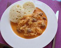 Segedin Goulash: Pork stew with sauerkraut, sour creamand steamed dumplings