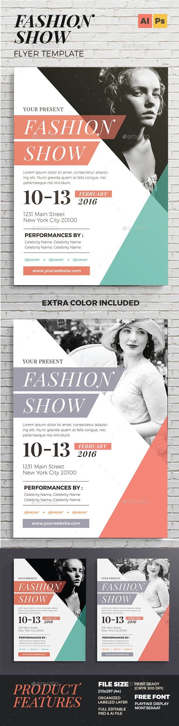 Fashion Show Flyer Template PSD, Vector AI #design Download: http://graphicriver.net/item/fashion-show-flyer/14496004?ref=ksioks                                                                                                                                                                                 More