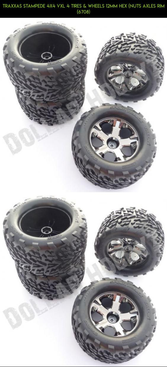 Traxxas Stampede 4x4 VXL 4 TIRES & WHEELS 12mm Hex (nuts axles rim (6708) #parts #fpv #gadgets #drone #plans #hex #kit #camera #shopping #technology #racing #traxxas #products #tech