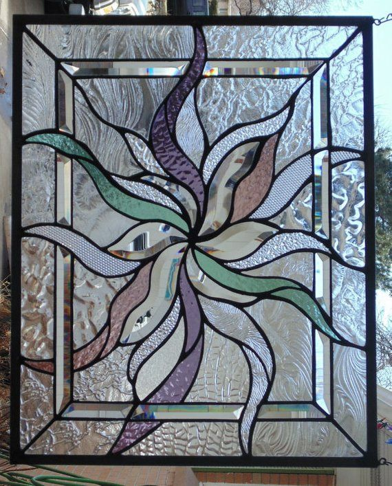 Stained Glass Asbstract Window Hanging 21 X 17 Faux Stained Glass Stained Glass Diy Stained Glass Art