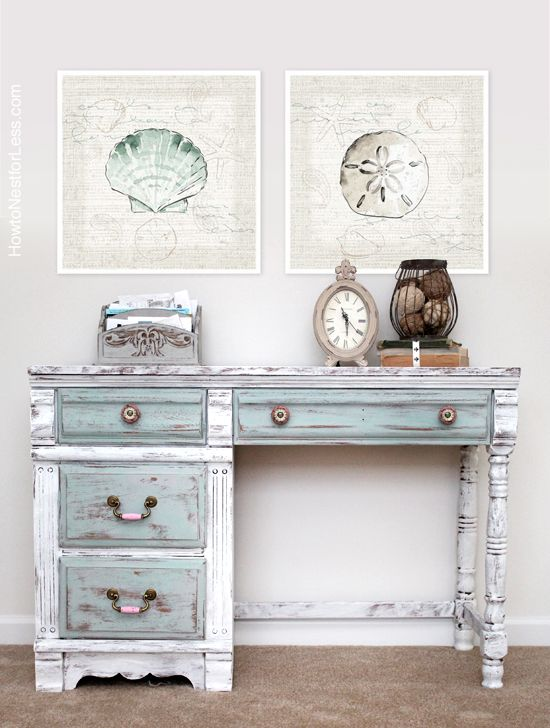 A lovely distressed desk painted in Pure White, Paris Grey & Duck Egg Blue Chalk Paint® decorative paint by Annie Sloan | By How To Nest For Less