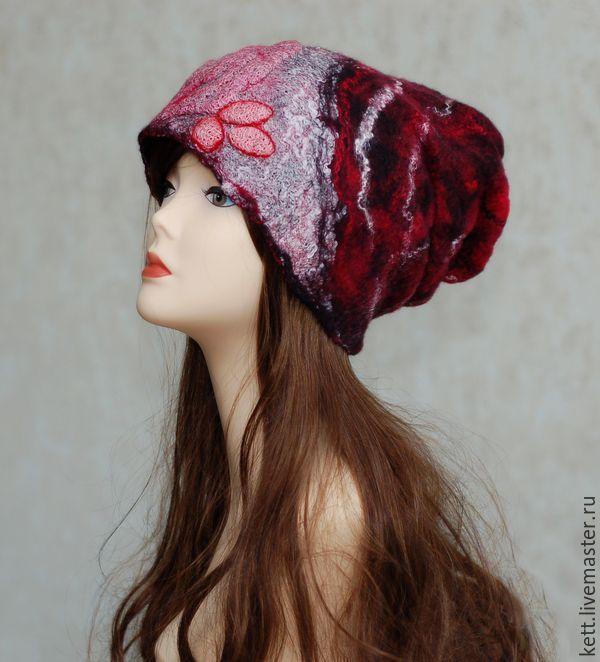 """Купить Валяная шапка из пластичного войлока """"МэРРи"""" - черный, красный, шерсть100%, войлок, шапочка"""
