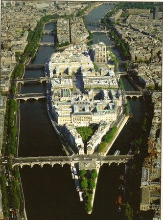 Paris, France. On the Island of the City.courthouse,The hotel Dieu And Notre Dame Cathedral