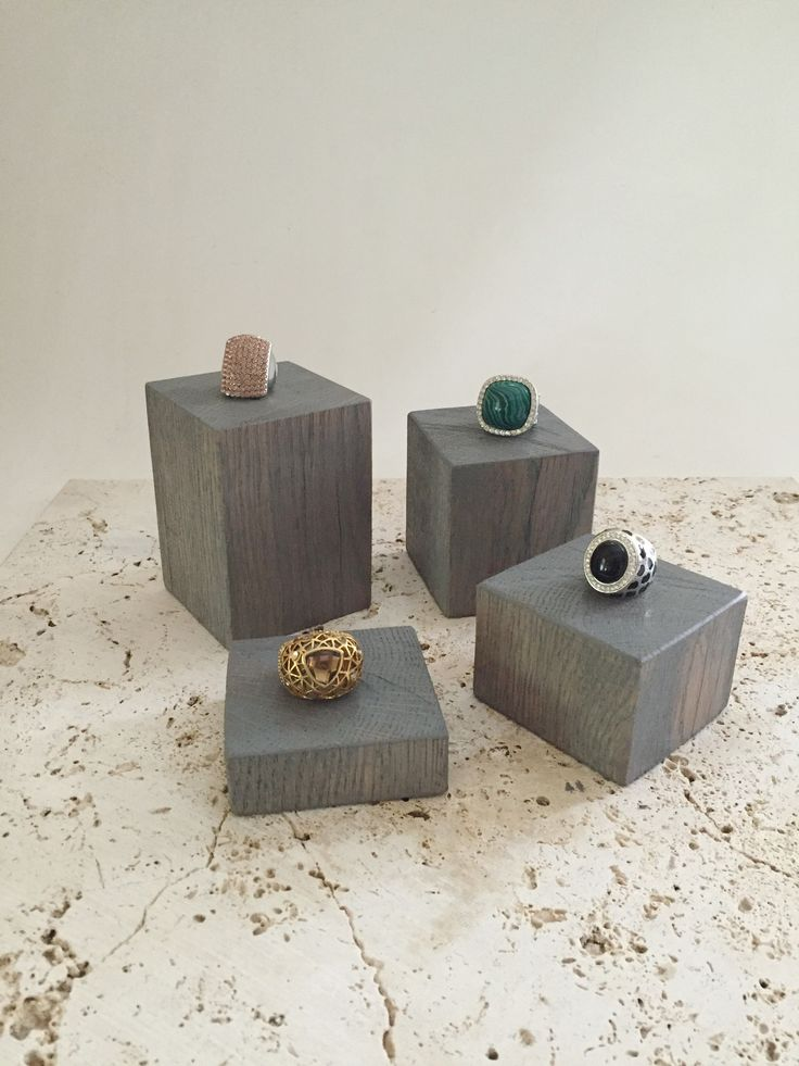 Wood ring display blocks or jewelry risers handcrafted from reclaimed barn wood. Products shown here in gray stain. - available in 6 stains and 1 painted finish - handcrafted by us in our workshop (Ma