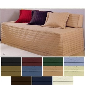 Turn any twin bed into a couch! SO doing this!  -------- Good idea for bed couch conversion (much nicer colours tho.)