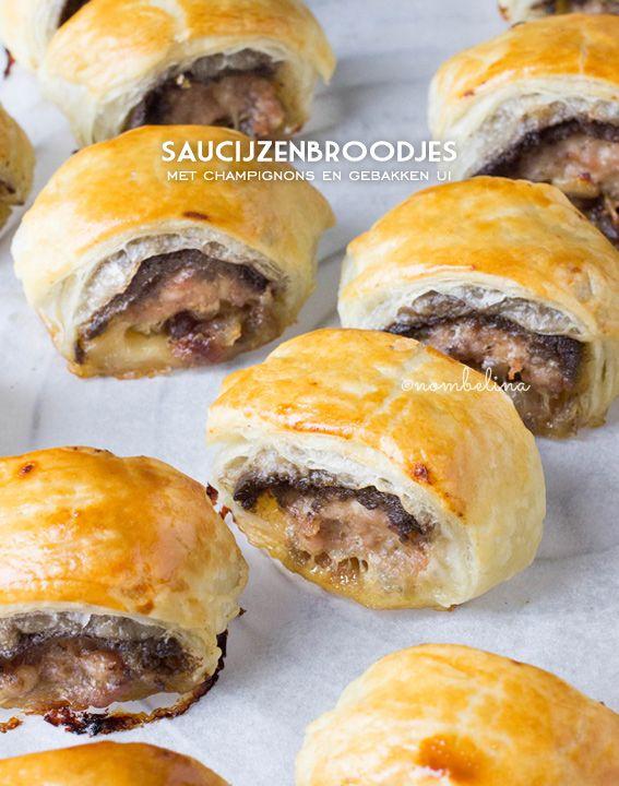 Luxe Saucijzenbroodjes met Champignons en Gebakken Ui