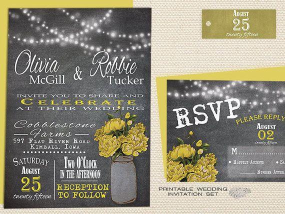Printable Rustic Chalkboard Wedding Invitation Suite  by X3designs