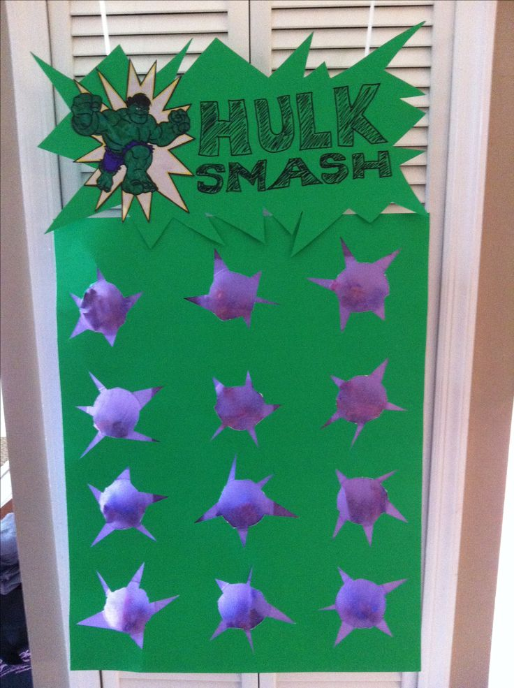 Avengers party. Hulk Smash game. I can make this!! I made one for Karla one time, with prizes, candies or silly activities in each punch for the kids.