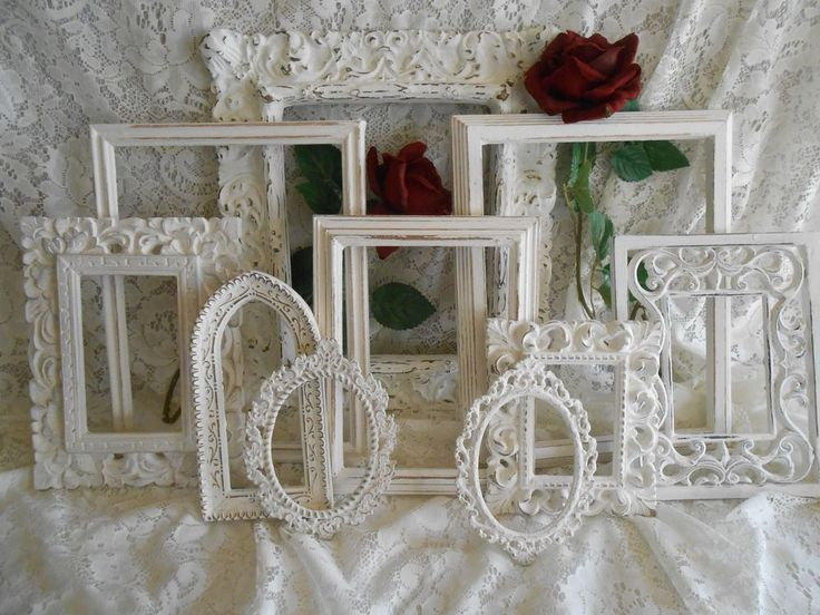 VTG ITALIAN BRASS SHABBY CHIC WEDDING COTTAGE PICTURE FRAME LOT WHITE HANDMADE C #Handmade #FrenchCountry