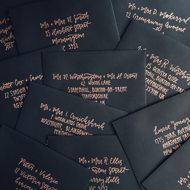 hand lettered wedding invitation envelopes by Paige Tuzee