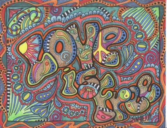 Love is free, Singleton hippie art , The Original. $85.00, via Etsy.