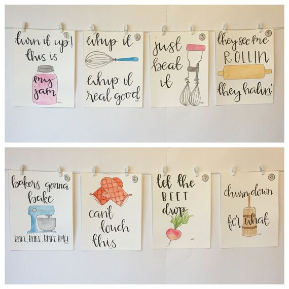 SET OF EIGHT watercolor kitchen pun decor by CleverlyBeverly