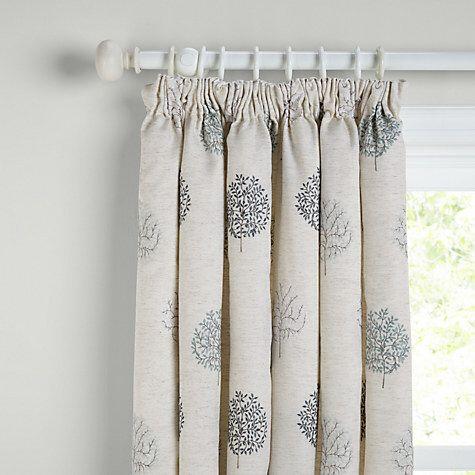 John Lewis Mini Olive Trees Lined Pencil Pleat Curtains, Duck Egg
