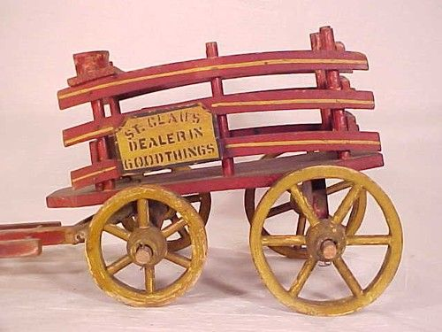 St Claus Dealer in Good Things C 1890 Antique Santa Pull Wagon American Toy Co | eBay
