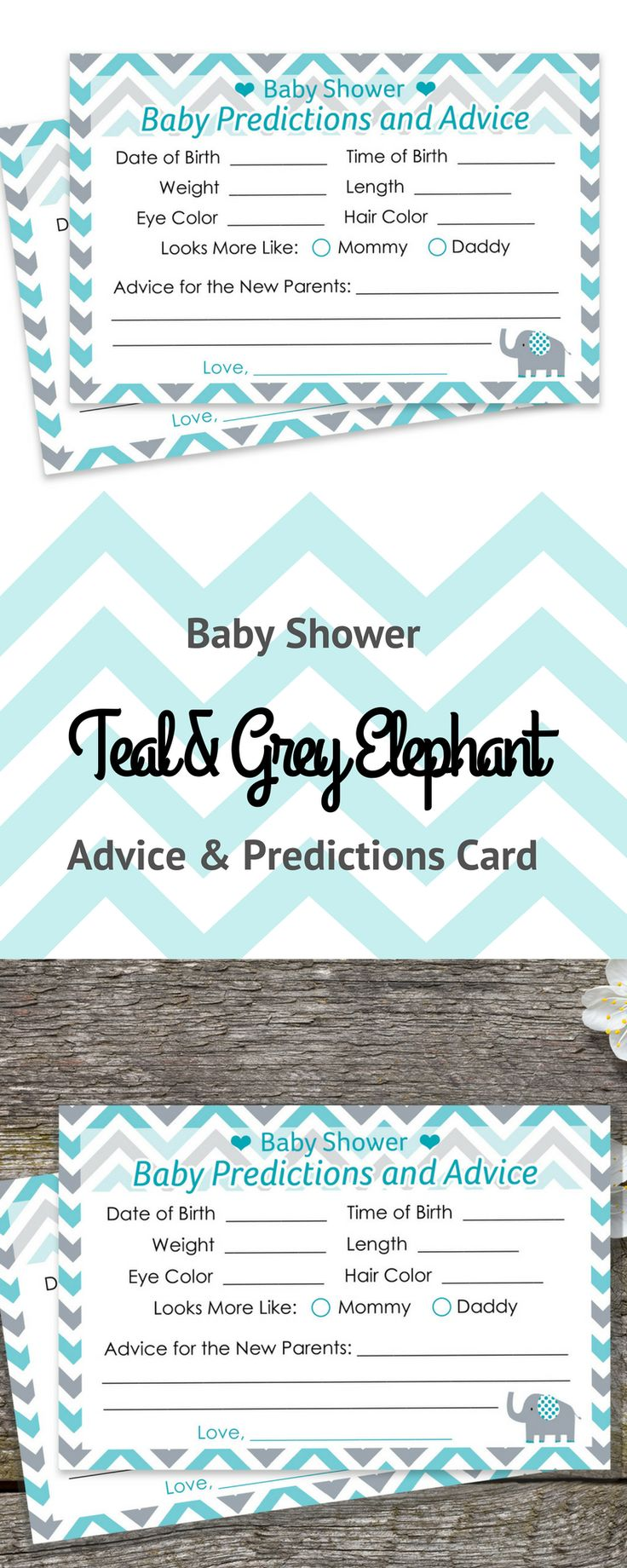 Baby Shower Advice and Predictions Cards - for Up to 20 Guests.Teal Blue and Gray Elephant Theme is Perfect for Boy Baby Showers.  #itsaboy #elephantbabyshower #babyshower #boybabyshower