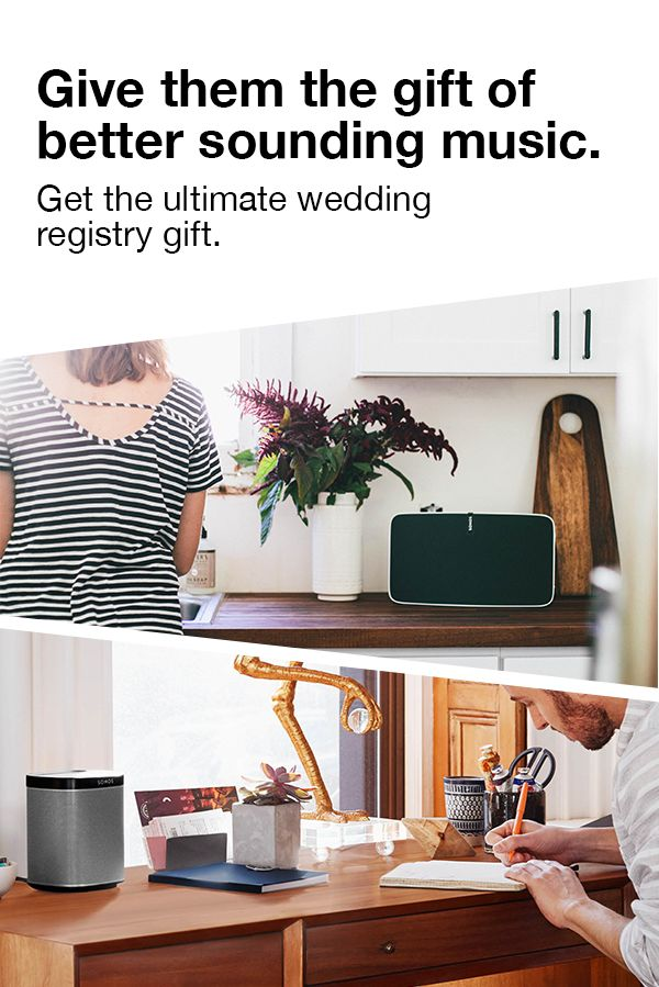 Give them the gift of the ultimate music listening experience. Boasting six amplifiers with six dedicated speaker drivers, the Sonos PLAY:5 is the ultimate wedding gift for obsessive audiophiles and hard-core music lovers. Shop today.