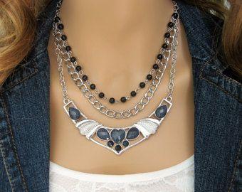 Negro Multi Strand collar, Abalorios collares, joyas de plata, collares Multistrand, negro collar de perlas, collar de declaración, N814