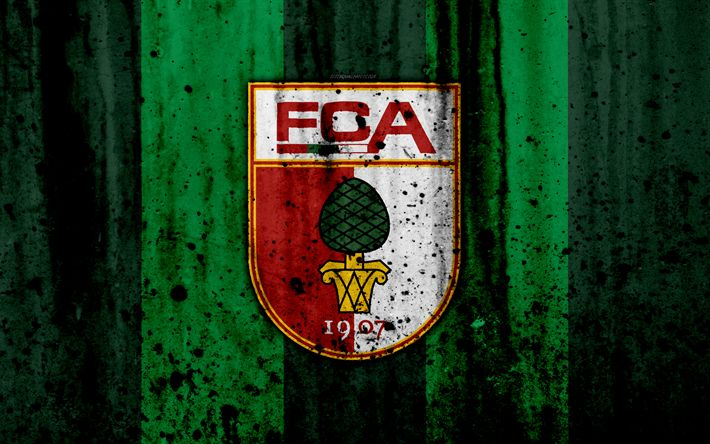 Download wallpapers FC Augsburg, 4k, logo, Bundesliga, stone texture, Germany, Augsburg, soccer, football club, Augsburg FC