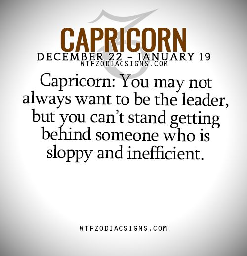 Capricorn: You may not always want to be the leader, but you can't stand getting behind someone who is sloppy and inefficient. - WTF Zodiac Signs Daily Horoscope!