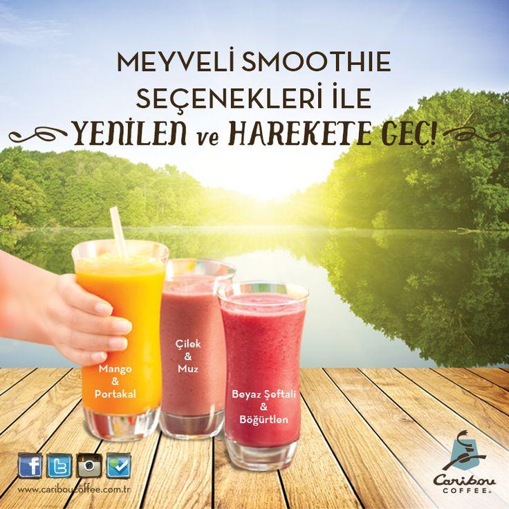 Caribou Coffee'nin bahar aylarında serinlemek isteyenlere çok lezzetli bir önerisi var: Smoothie!   Mango&Portakal, Çilek&Muz, Beyaz Şeftali&Böğürtlen çeşitleriyle #MaltepePark AVM şubesinde seni bekliyor!