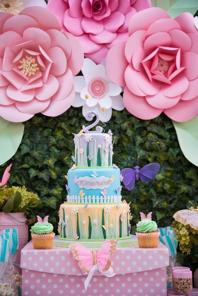 Check out this paper flower backdrop at a butterflies and flowers birthday party! See more party ideas at CatchMyParty.com!