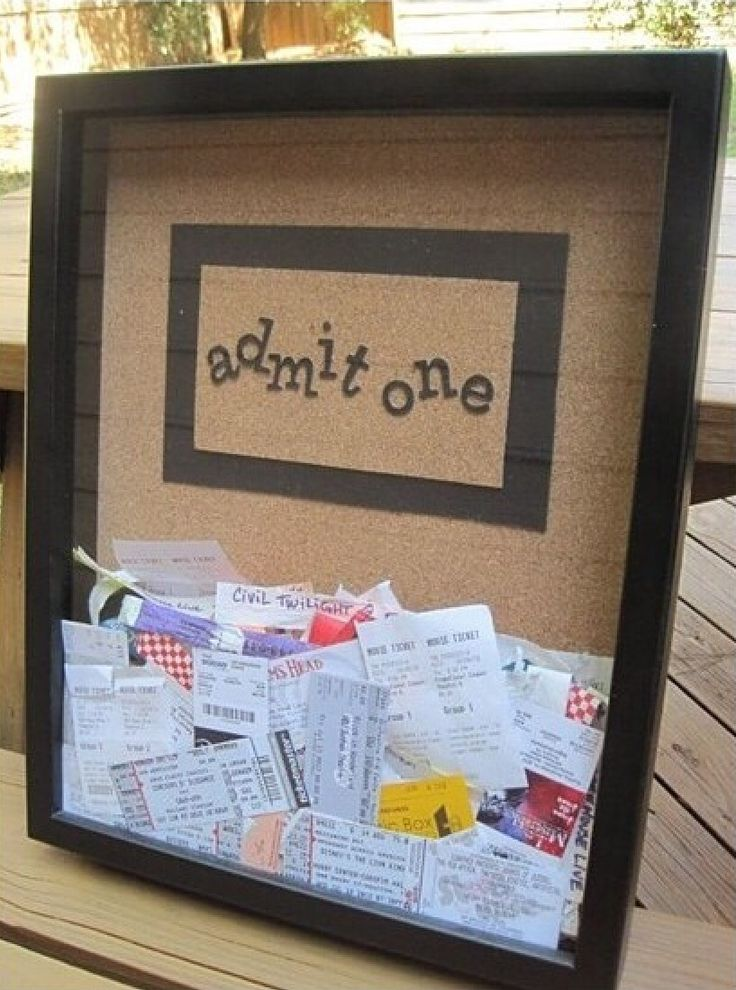 "Cute ""Admit One"" decor. Just fill a picture frame with old movie tickets or amusement park bracelets, Whatever you want! Super easy and adorable in any room."
