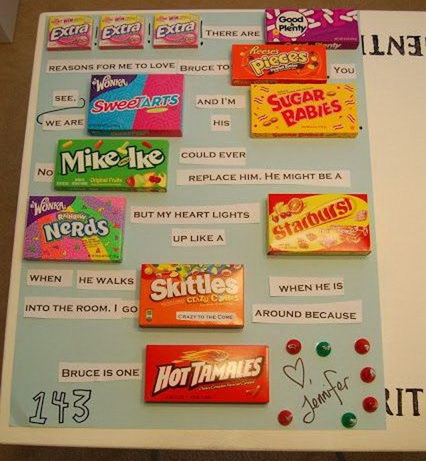 DIY Valentines Candy Bar Letter for Boyfriend, http://hative.com/candy-bar-poster-ideas-with-clever-sayings/