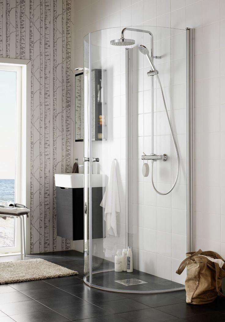 Møt dusj Igloo Wall -- et elegant dusjhjørne som kan plasseres i et hjørne eller rett på en vegg. http://handlebad.no/dusj/dusj/igloo-wall-dusj-95x80