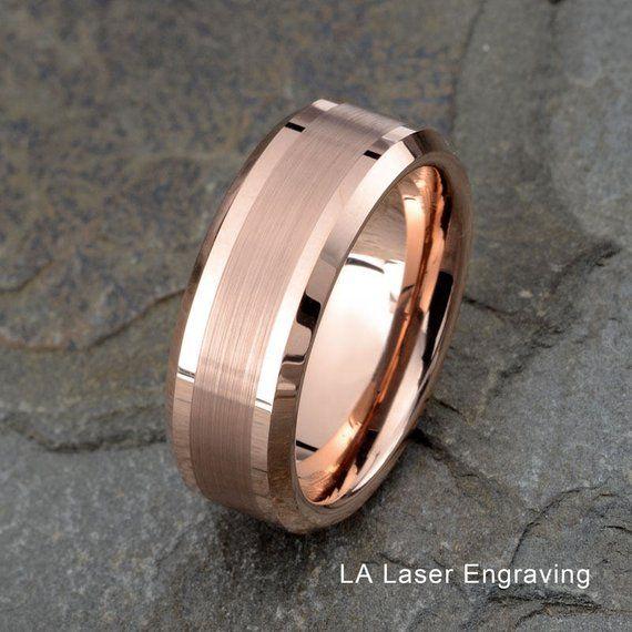 Tungsten Wedding Band Rose Gold Tungsten Tungsten Wedding Ring