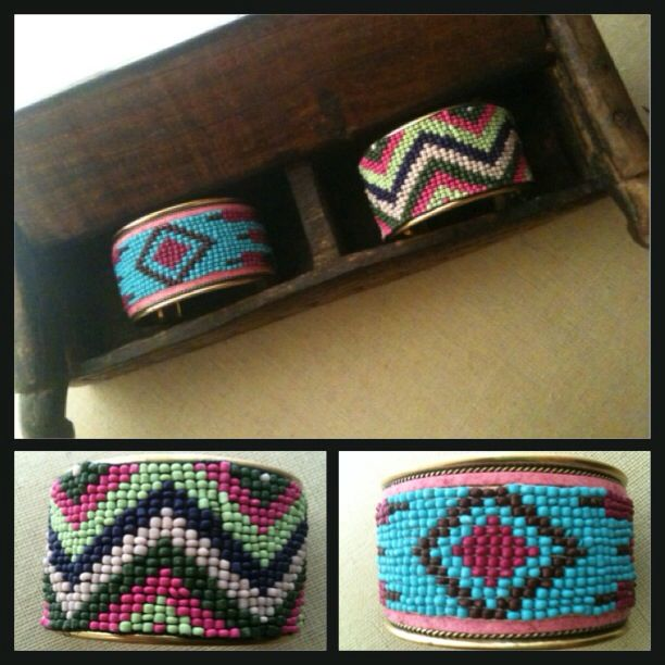 Aztec tribal inspired and chevron pattern beaded cuff bracelets...bright and colorful!!