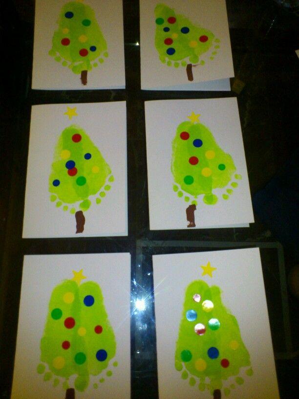 postales de navidad hechas por los nios sus huellas de los pies y gomets
