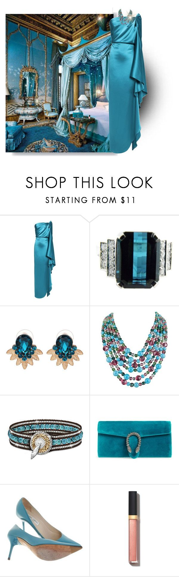 """""""Teal"""" by deborah-518 ❤ liked on Polyvore featuring Gianluca Capannolo, WithChic, Coppola e Toppo, The Bradford Exchange, Gucci, Jimmy Choo, Chanel and Guerlain"""
