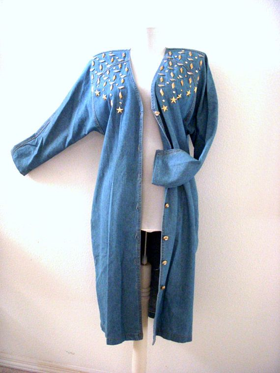 Vintage 80s Blue Cotton Denim Duster  Blue Jean Denim Duster