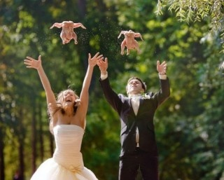 um..why are they tossing chickens..?!