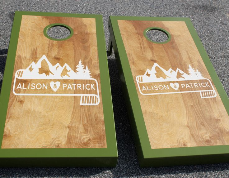 Wedding Cornhole Board Decals: Set of Two Custom Mountain and Banner Decals by iinky on Etsy https://www.etsy.com/listing/231496014/wedding-cornhole-board-decals-set-of-two