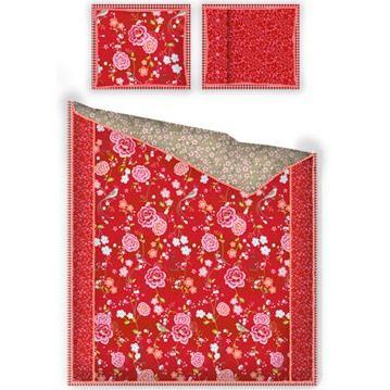 PiP Studio sängkläder - Birds in Paradise, röd, Påslakan och örngott, enkelsäng