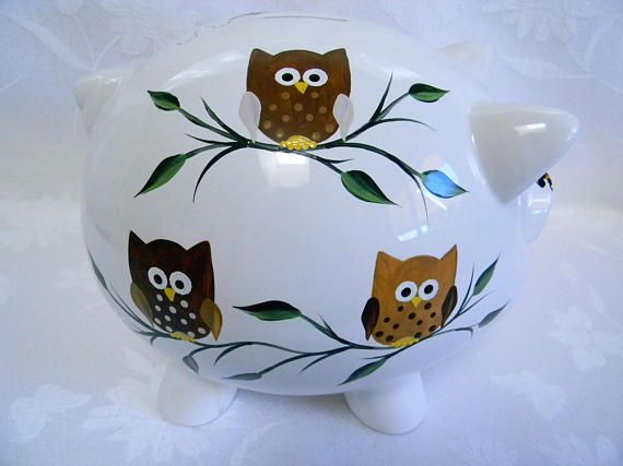 Happy whimsical owls sitting on branches are delightful on this large piggy bank. Neutral to  compliment any décor. Visit my shop to see more designs.
