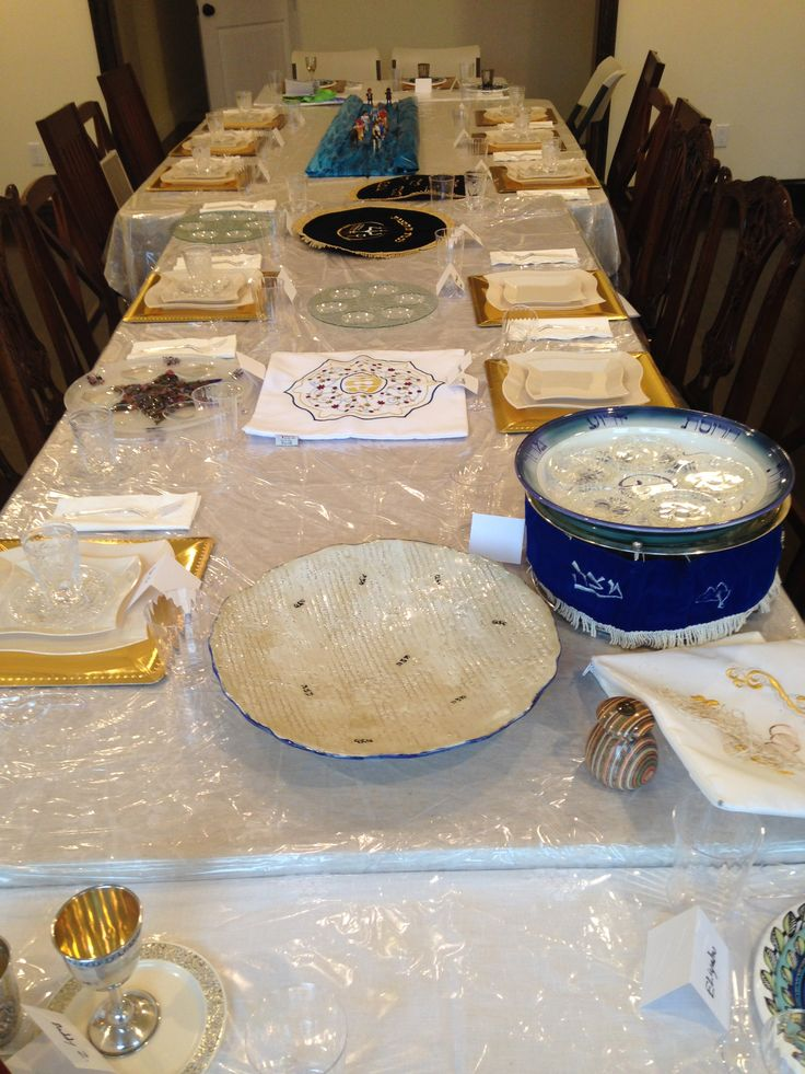 One of my matzah plates in use on a Seder table!